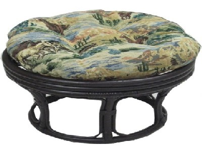 Papasan Footstool with Tapestry Cushion