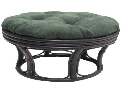 Papasan Footstool With Micro Suede Cushion