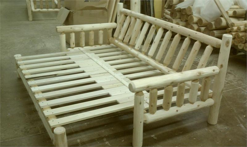 Rustic Log Sofa Unfinished Bed