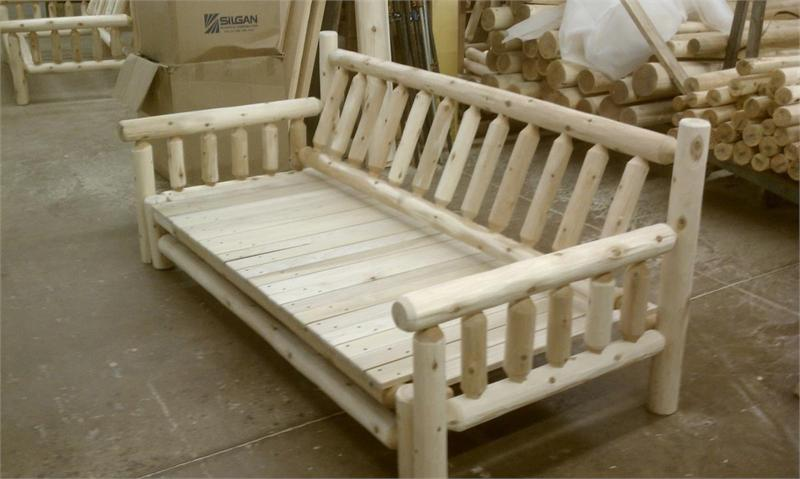 Rustic Log Bed Position Sofa Unfinished